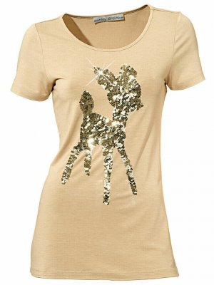 Ashley Brooke Bambi Shirt in Beige/Gold mit Pailletten Gr. 36