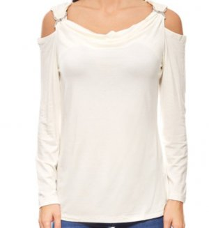 Ashley Brooke Cowl-Neck Shirt white mixture fibre