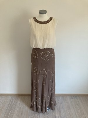 Ashley Brooke Heine Kleid Abendkleid taupe braun grau weiß 40 L