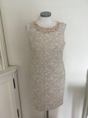 Ashley Brooke Heine Kleid Etuikleid beige gold creme weiß 38 M
