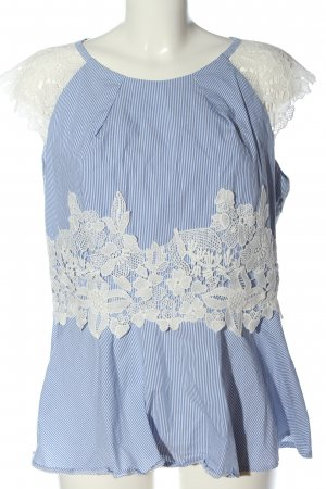 Ashley Brooke Short Sleeved Blouse blue-white striped pattern casual look