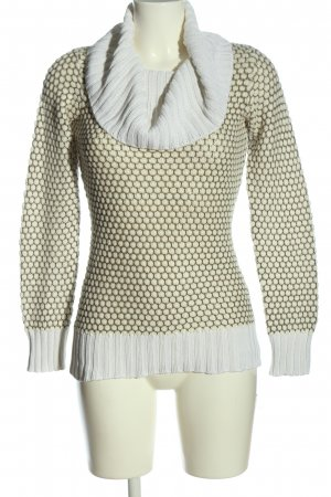 Ashley Brooke Turtleneck Sweater cream-white allover print casual look
