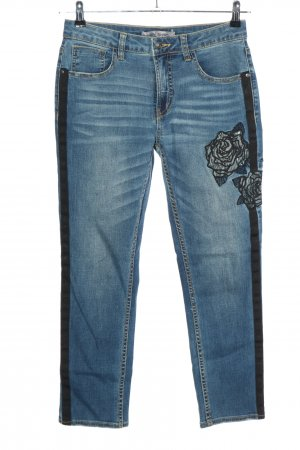 Ashley Brooke Slim Jeans blue-black embroidered lettering casual look