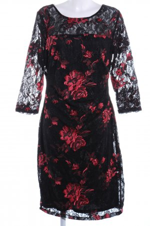 Ashley Brooke Vestido de encaje negro-rojo elegante