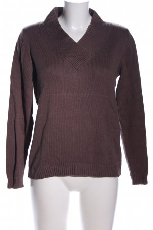 Ashley Brooke Pull tricoté brun style décontracté
