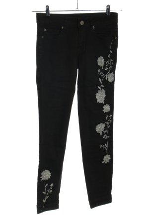 ASHLEY MASON Jeans skinny noir-gris clair motif de fleur style décontracté