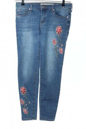 ASHLEY MASON Skinny Jeans blau-rot Blumenmuster Casual-Look