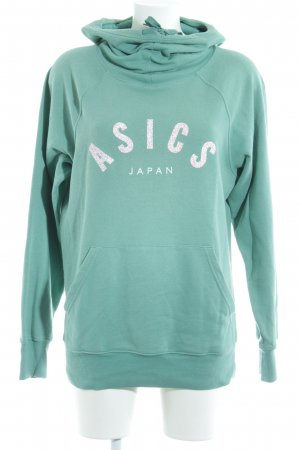 Asics Hooded Sweater mint-turquoise printed lettering Band ornaments
