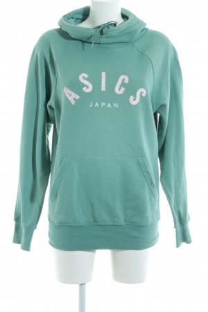 Asics Capuchon sweater turkoois gedrukte letters casual uitstraling