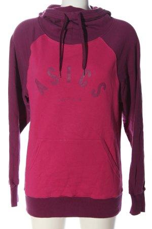 Asics Sweat à capuche violet-rose imprimé avec thème style décontracté