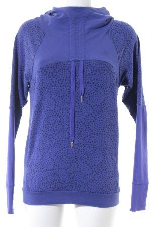 Asics Kapuzensweatshirt blauviolett-schwarz Punktemuster sportlicher Stil