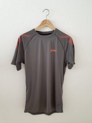 asics motion dry m boyfriend Sport Fitness Rundhals Halbarm Shirt Top Oberteil long grau coral koralle