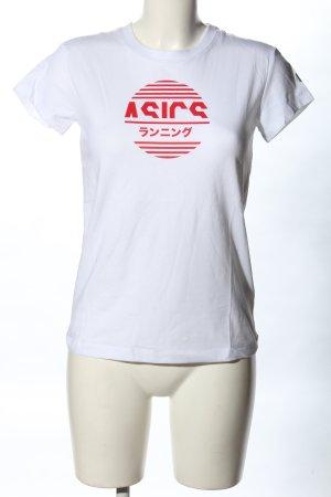 Asics T-shirt blanc-rouge imprimé avec thème style décontracté