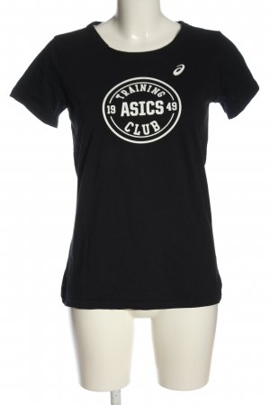 Asics T-Shirt black-white themed print casual look