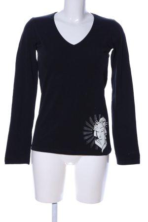 Asics V-Ausschnitt-Pullover blau Motivdruck Casual-Look