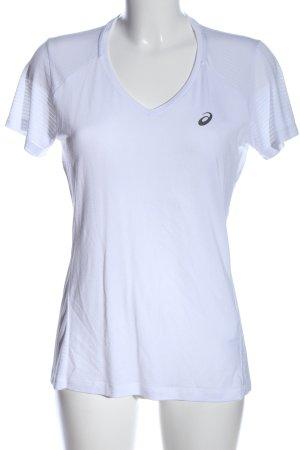 Asics V-Neck Shirt white-black themed print casual look