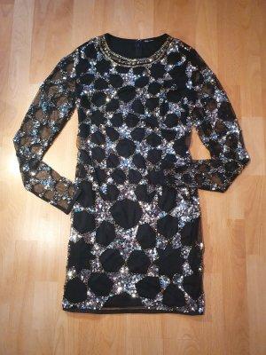 ASOS DESIGN Petite Robe à paillettes noir-argenté