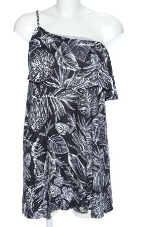 Asos A-Linien Kleid schwarz-weiß Blumenmuster Casual-Look