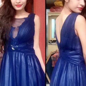 Asos Robe de soirée bleu foncé-bleu