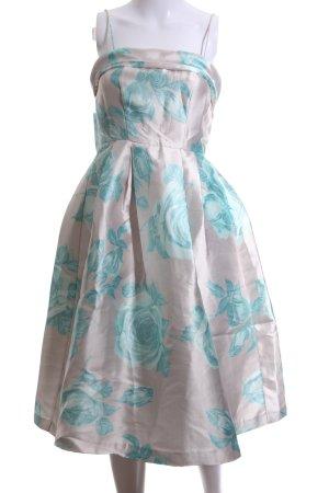 Asos Abendkleid wollweiß-türkis Blumenmuster Elegant