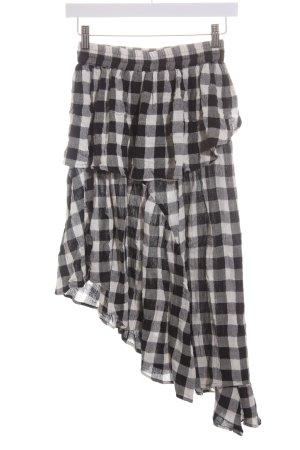 Asos Falda asimétrica negro-blanco puro estampado a cuadros look casual