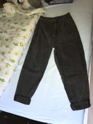 Asos Jeans taille haute gris anthracite-noir