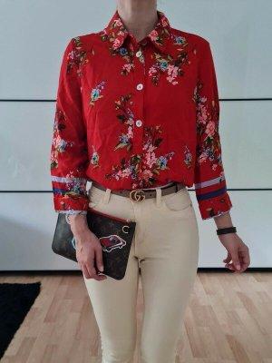 Asos Blumen Hemd XS S 34 36 rot oversized Bluse Shirt Top Oberteil Tunika