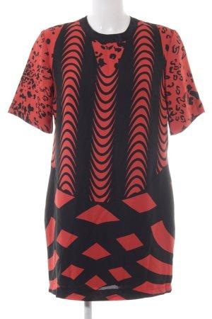 Asos Blusenkleid schwarz-hellrot abstraktes Muster extravaganter Stil