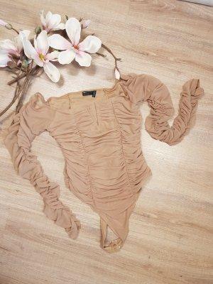 Asos Blusa tipo body marrón grisáceo-marrón claro