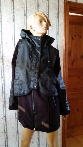 Asos Abrigo de lana negro-carmín