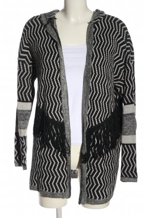 Asos Cardigan schwarz-weiß grafisches Muster Casual-Look
