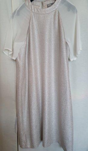 Asos Cocktail Party Mini Sommer Kleid Chiffon Ärmel creme weiß silber Gr 40