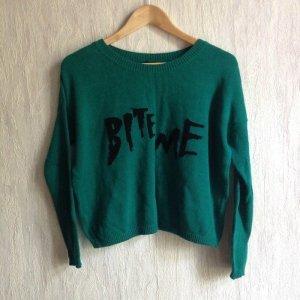 Asos Cropped Pullover Bite Me Sweater Bauchfrei 90s Vampir urban Logo Print