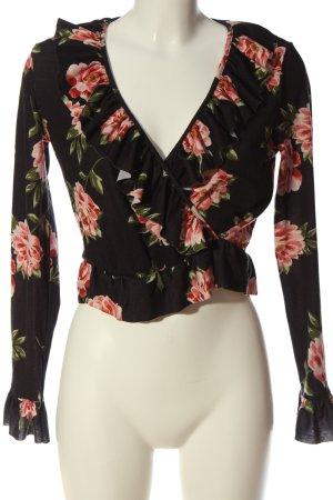 Asos Kopertowa bluzka czarny-różowy Na całej powierzchni W stylu casual