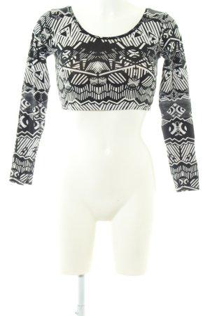 Asos Cropped Shirt weiß-schwarz grafisches Muster Casual-Look
