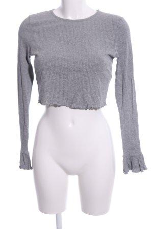 Asos Cropped Shirt hellgrau meliert Casual-Look