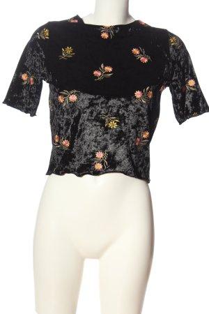 Asos Cropped Shirt schwarz Blumenmuster Casual-Look