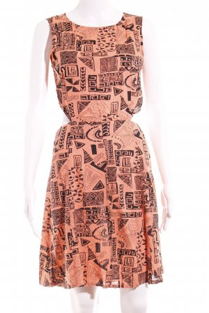 Asos Cut-Out-Kleid schwarz-apricot abstraktes Muster Casual-Look