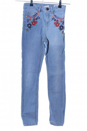Asos Denim Skinny Jeans blau-pink Blumenmuster Casual-Look