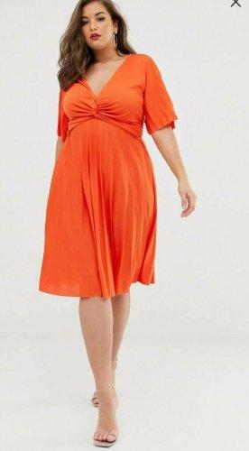 asos curve Sukienka midi pomarańczowy Poliester