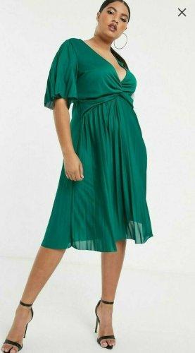 asos curve Sukienka z krótkim rękawem leśna zieleń Poliester