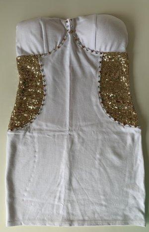 ASOS Dress Weiß mit Goldenen Pailletten Gr.S