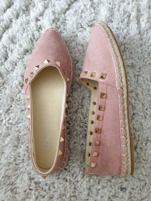Asos Espandrille Nieten 36 rosa nude Ballerina Sandalen Loafer Flats Neu