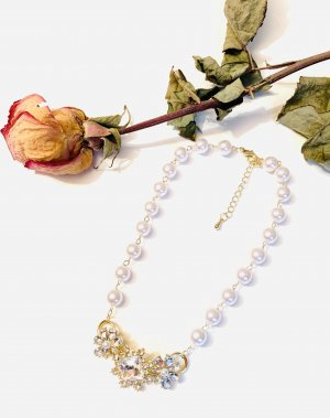Asos Necklace gold-colored-white