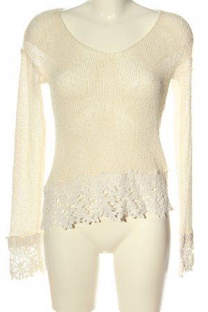 Asos Szydełkowany sweter kremowy W stylu casual