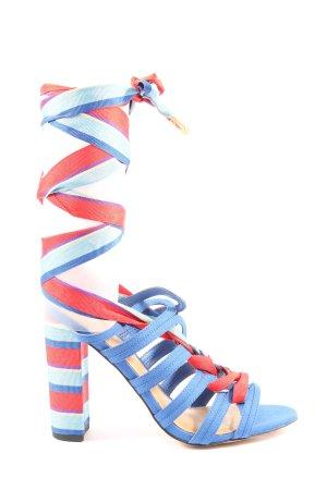 Asos High Heel Sandaletten blau-rot Streifenmuster Casual-Look