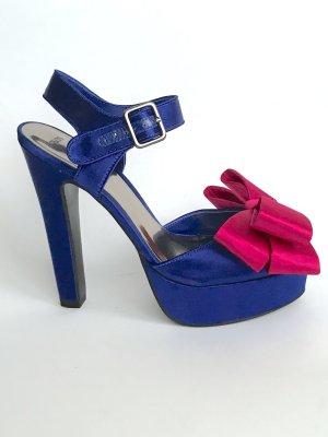 ASOS High Heels mit Schleife Gr 39 pink blau Satin Glanz Vintage Retro Party Hochzeit Topshop