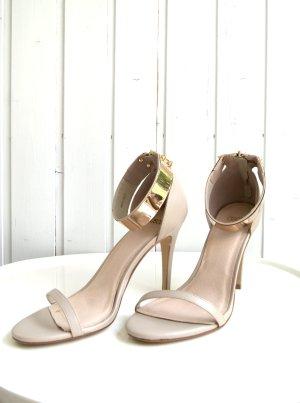 ASOS High-Heels Sandale, Reißverschluss, Knöchelriemen, beige, Gr. 41 (UK 8)