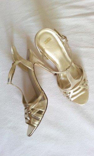 Asos High Heels Sandaletten in UK7/40, Gold, T-Steg Peep-Toe & Knöchelriemchen