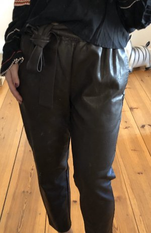 asos curve Leather Trousers dark brown